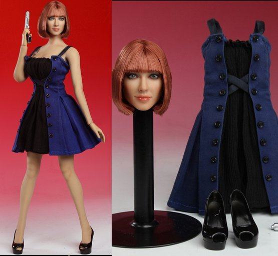 "1/6 scale figure doll clothes with head for 12"" Action figure doll accessories,Doll Female Sexy dress.not include doll body"