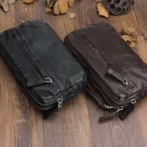 Image 2 - AETOO Bolso de cuero retro hecho a mano, primera capa de cartera de cuero, multitarjeta bolso de mano, Vintage, multiusos
