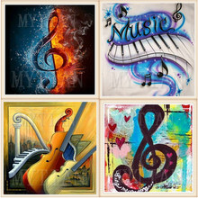 Pittura diamante di musica di pianoforte full spectrum piazza rotonda di strass trapano mosaico nuovo arrivo 3d fai da te ricamo wall sticker regalo(China)