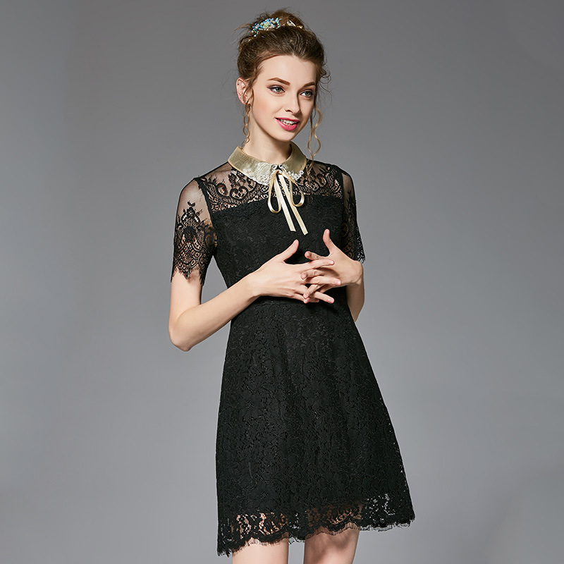 OUYALIN L 5XL Plus Size Lace Dress 2017 Women Summer Elegant Sexy Short  Sleeve Collared Slim Fit Short Office Dresses Vestidos-in Dresses from  Women s ... c635c94a5903