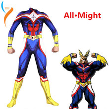 My Hero Academia All Might Cosplay Costume Zentai Lycra Spandex Blue Full Body Exquisite Bodysuit Jumpsuit Suits