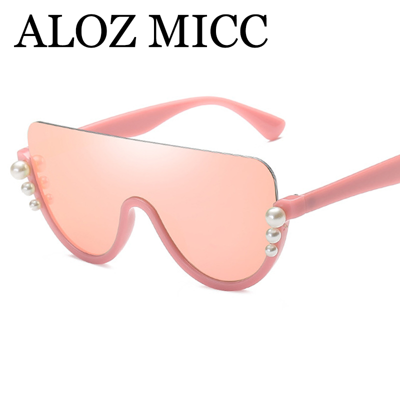 ALOZ MICC Luxury Pearl Half Rimless Sunglasses Women 2018 Fashion Big Frame Cat Eye Sun  ...
