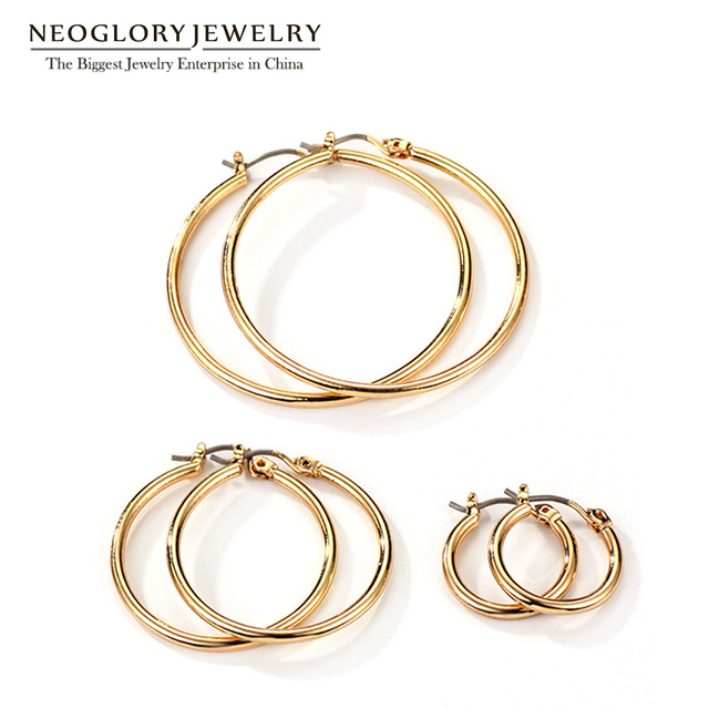 Neoglory Gold Plated Three Pairs Hook Earrings Set For Women Teens Girls Different Sizes Brand Fashion Jewelry 2017 New Gifts FA