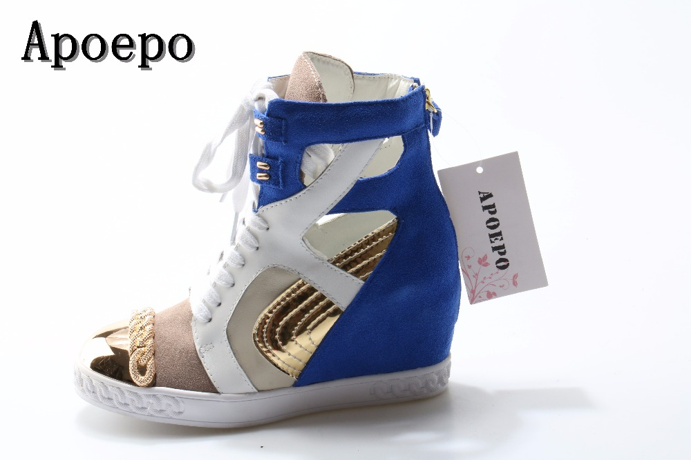 Gold Metal Round Toe high top casual shoes blue suede lace-up height increasing woman shoes 2018 wedge shoes