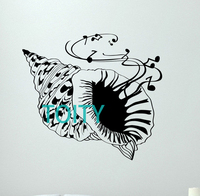 Sea Shell Wall Decal Music Notes Vinyl Sticker Bathroom Poster Decor Mural H62cm X W57cm