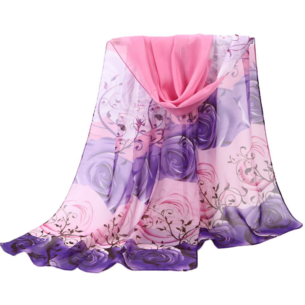 Women Girls Floral Print Chiffon Long Beach   Scarves     Wraps   Portable Breathable Summer Anti Sunshine   Scarf   Shawls 47x155cm
