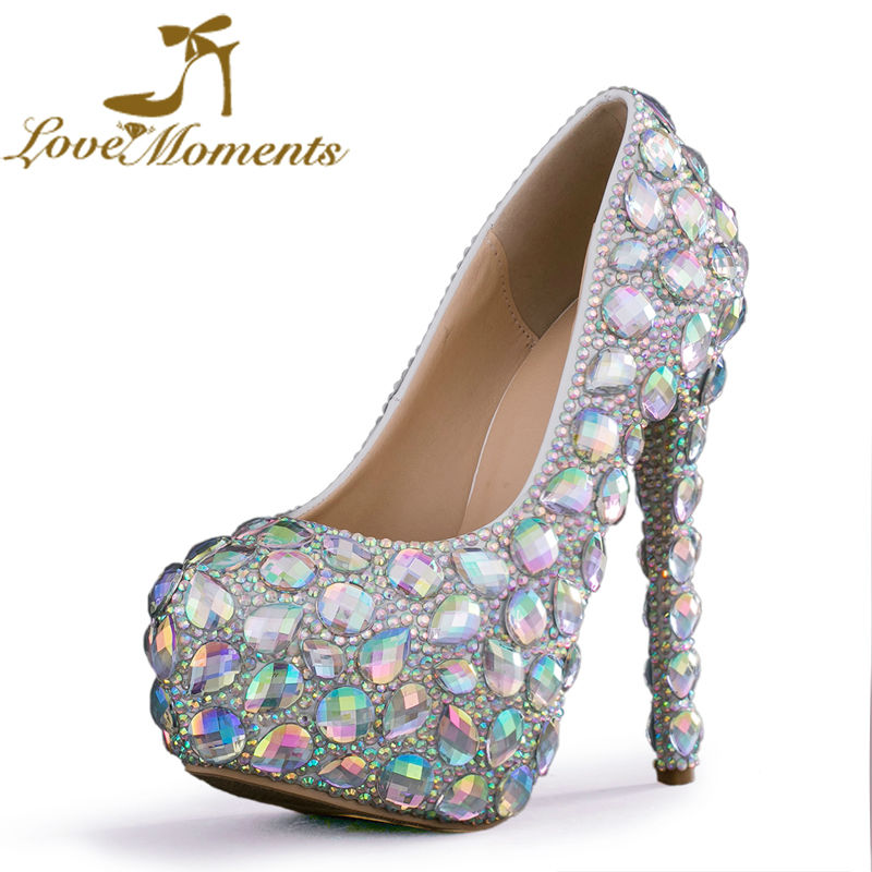 Love Moments Silver AB Rhinestone Women Pumps High Heels Crystal Bridal Shoes Wedding Dress banquet festival Prom Party shoes