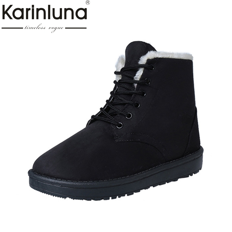 KARINLUNA 2017 hot sale pink black lace up casual winter shoes women comfortable flat heel warm plush ankle boots woman footwear black women boots flat heel casual