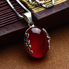 authentic 925 Sterling silverGarnet Necklace pure red jade pendant intime zircon red cute female flower Red corundum Pendant
