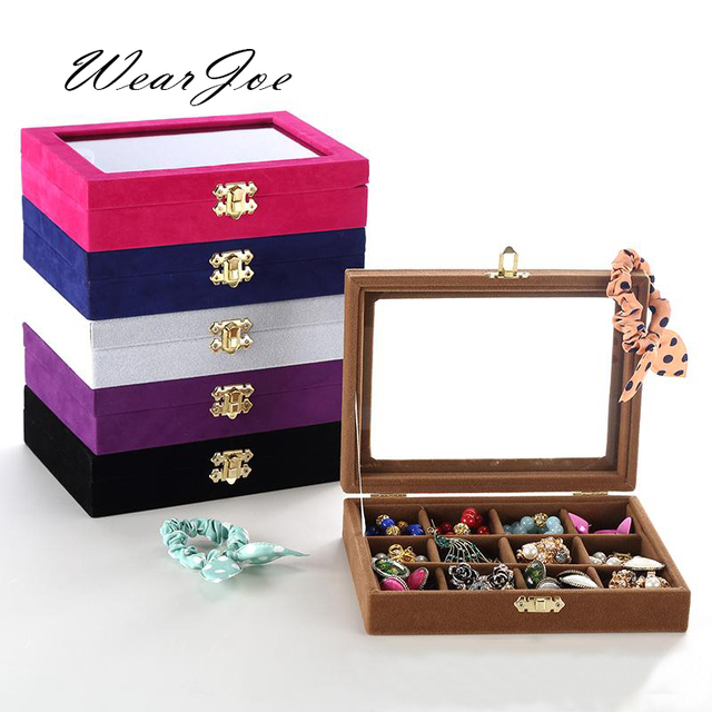 Glass Top 12 Grids Ring Earring Jewelry Storage Velvet Gift Box