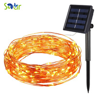 Solar Power String Light Waterproof LED Strip 10m 100 LED Copper Wire Lamp Warm White For