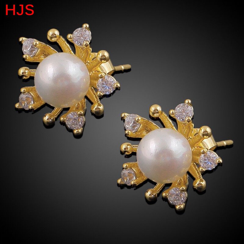 Ethiopian design pearl stud earrings for girls 18K Real Gold ...
