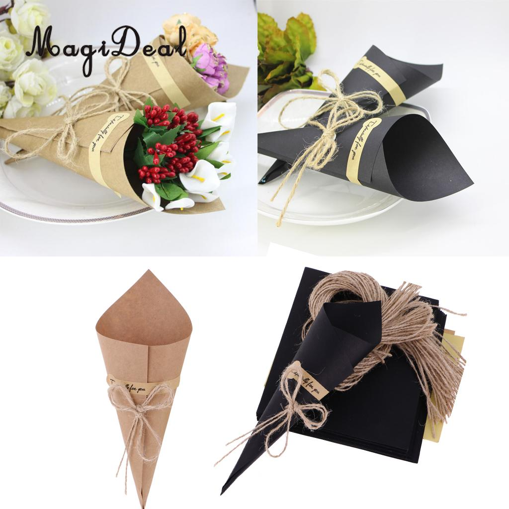 MagiDeal 50 Pcs/Lot Flower Packaging Paper Kraft Paper Cones Bouquet Candy Boxes Birhtday Wedding Party Gift Wrapping Paper