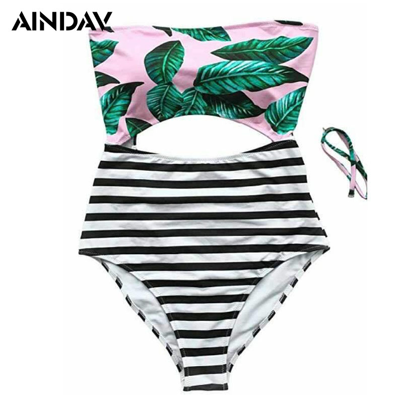 AINDAV Leaves Printing Stripe Halter One Piece Swimsuit Women Bathing Suits Vintage Beach Wear Plus Size Swimwear with Cutout one piece swimsuit cheap sexy bathing suits may beach girls plus size swimwear 2017 new korean shiny lace halter badpakken