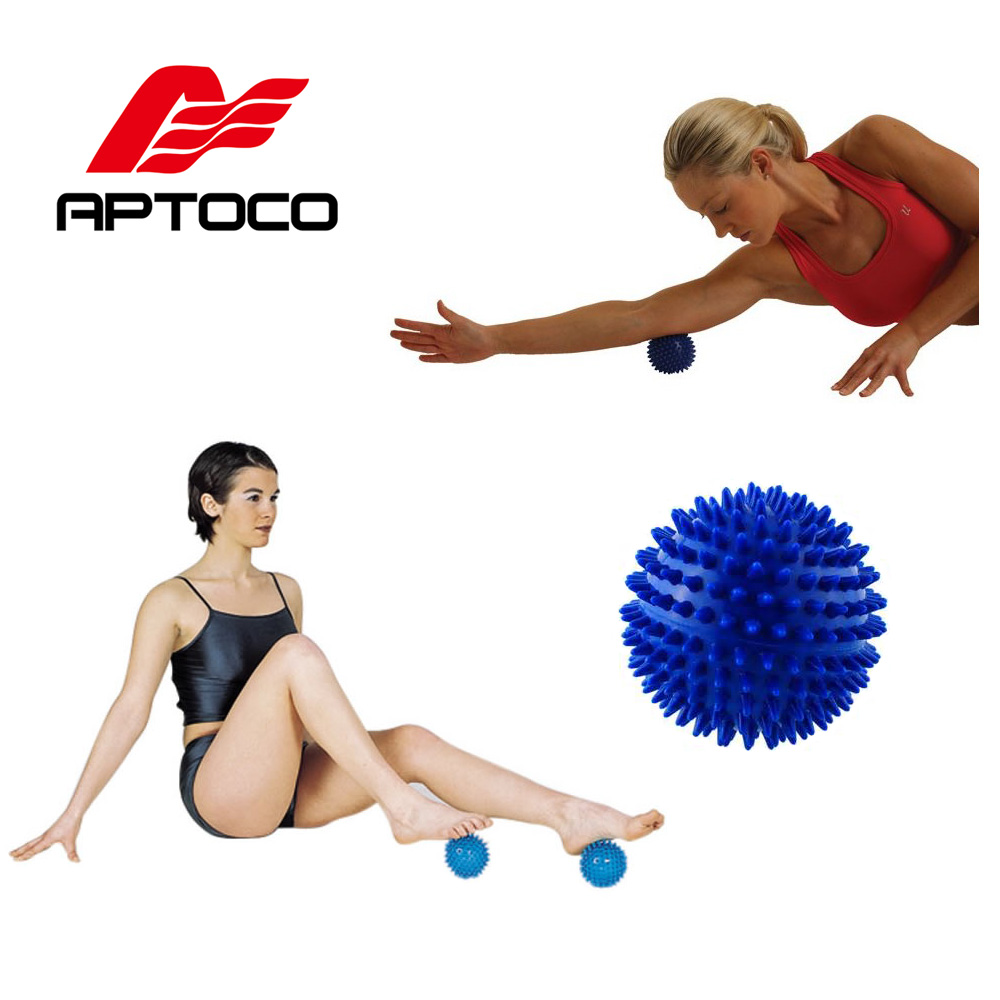 Aptoco 7 cm Massage Balls Kneading Point Massage Ball Roller Reflexology Stress Relief for Palm Foot Arm Neck Back Body spiky massage ball fitness balls sense to strengthen mini peanut massage ball soft for back foot hand training ball blue red