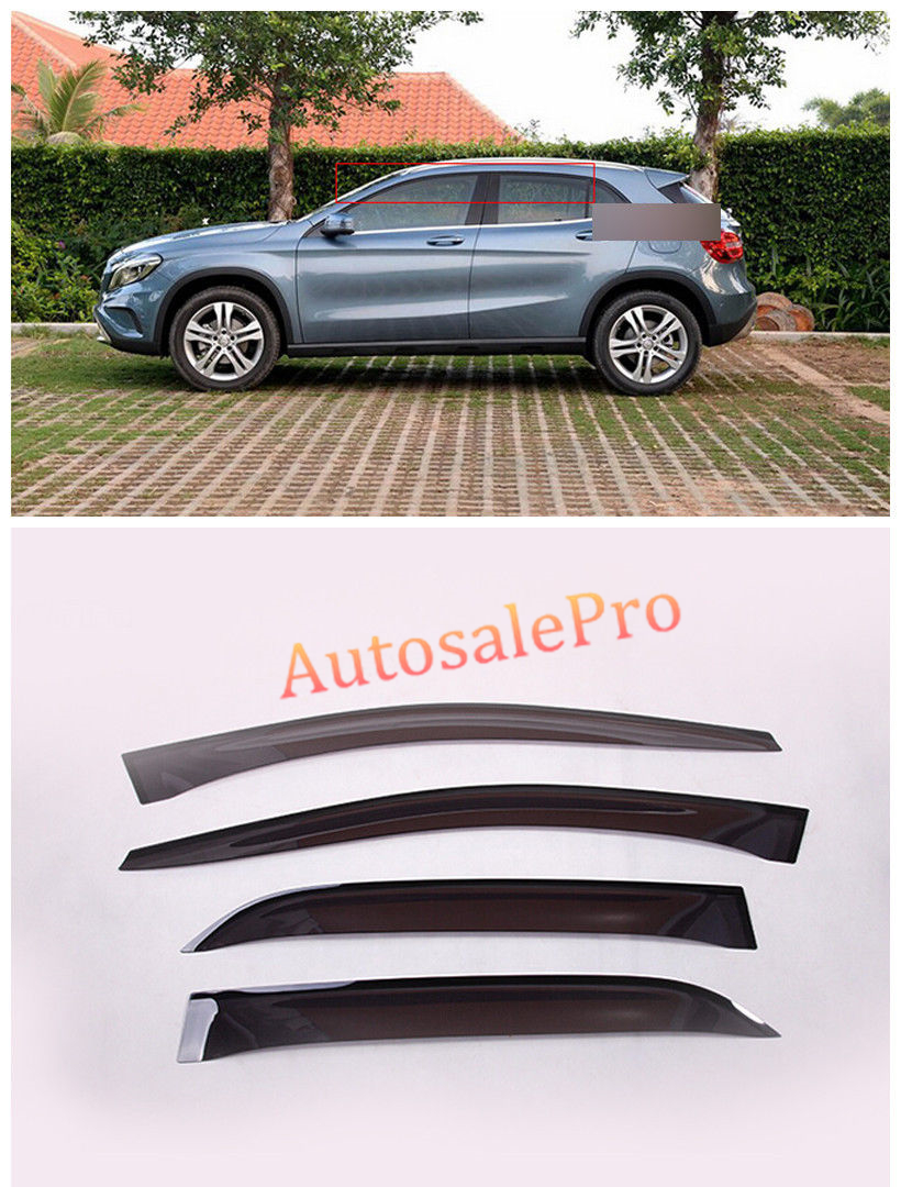 Adhesive Window Visor Vent Shades Sun Rain Guard  Vent Deflector For Mercedes Benz GLA X156 2014 2015 4pcs set smoke sun rain visor vent window deflector shield guard shade for vw volkswagen passat b8 2015 2016 2017