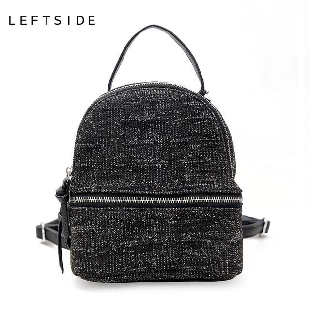 1e25961e16eb LEFTSIDE Female Woolen Cute Mini Black Backpacks Purse For Teenage Girls  Women Packbags Retro Back Pack