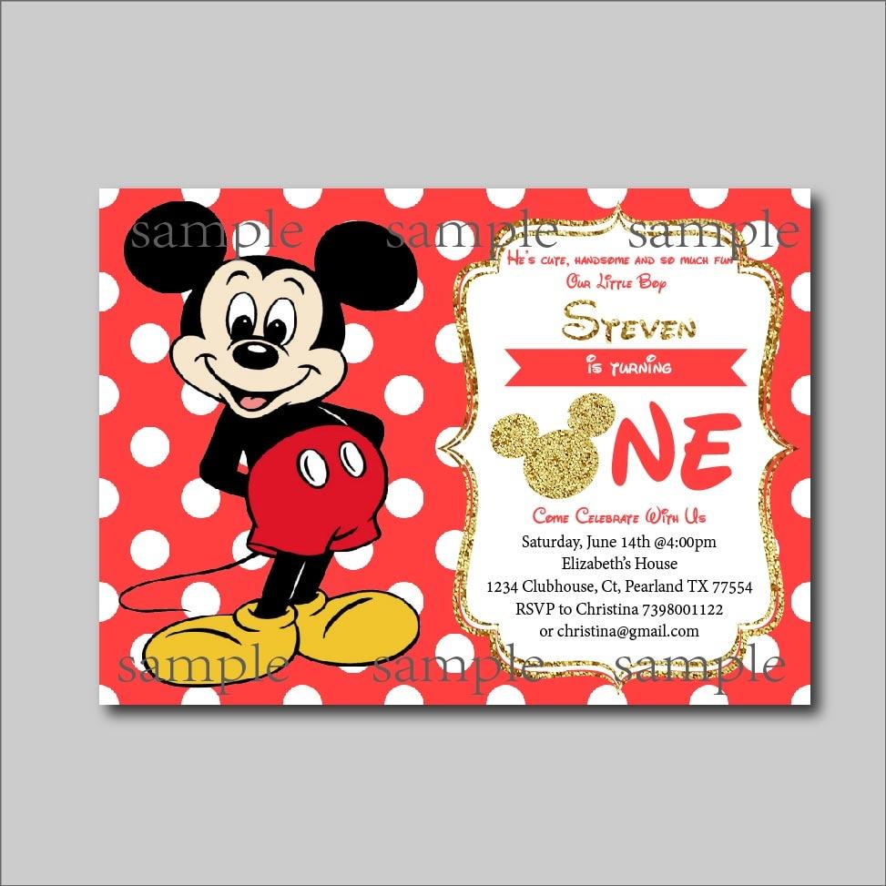 20 pcs/lot Mickey Mouse Birthday invitation Boys Mickey Mouse Baby ...