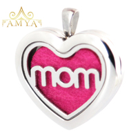 Amya Jewelry 30mm Heart Mom Aromatherapy Essential Oils Stainless Steel Perfume Diffuser Locket Necklace with chain Pads