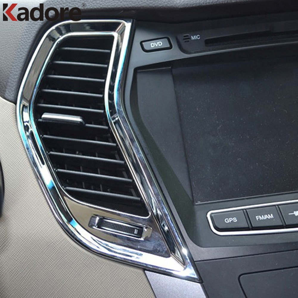 For Hyundai Santa Fe 2013 2014 2015 ABS Chrome Accessories Air Vent Outlet Trim Inside Door