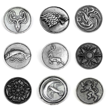 купить Game of thrones Song of Ice and Fire Family Brooch pins Vintage Retro badge Dress Movie Jewelry For Clothes Collar Handbag Pins по цене 67.98 рублей
