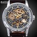 Мужские автоматические наручные часы Shenhua с кожаным ремешком  Античный стимпанк  повседневные механические часы с скелетом  новые уникальн...