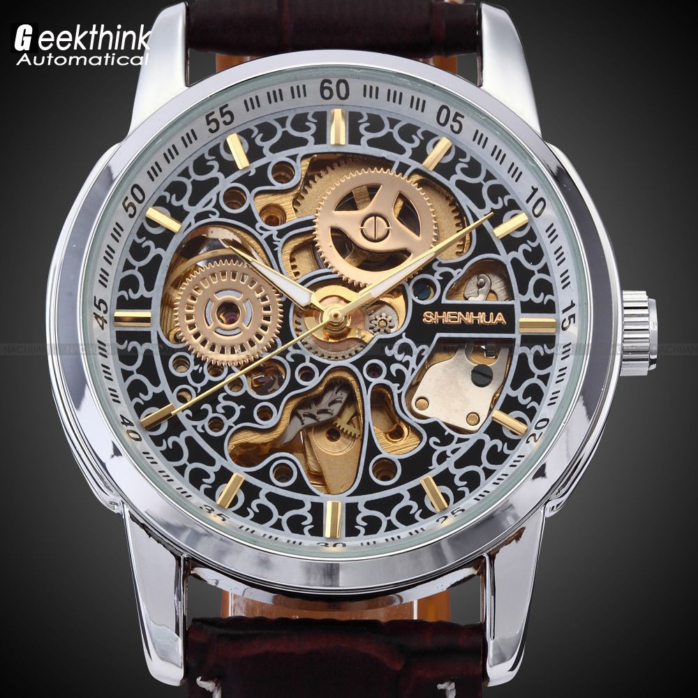 SHENHUA Men Skeleton Automatic Wristwatch Clock male Leather Strap Antique Steampunk Casual Skeleton Mechanical Watch New Unique