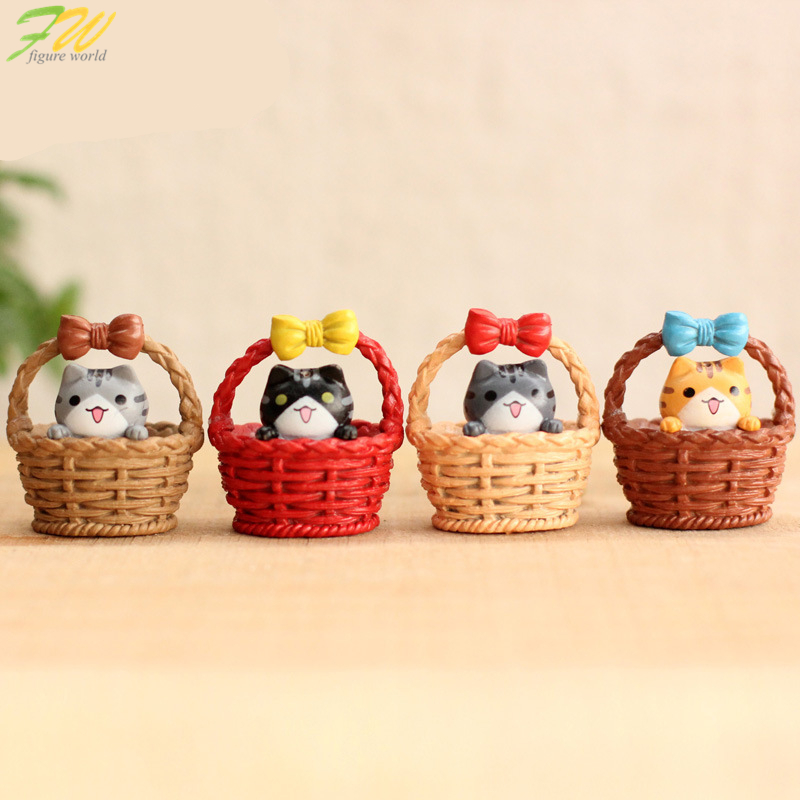 (4pcs/lot) Cheese cat miniature figurines toys cute lovely Model Kids Toys 3cm PVC japanese anime children figure world 160325 image
