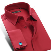New French Cuff Button Men Dress Shirts Long Sleeve Red White Mens Business Shirt Camisa Hombre