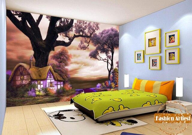 Custom kids kinderen sprookje behang mural magic cottage in fantasy