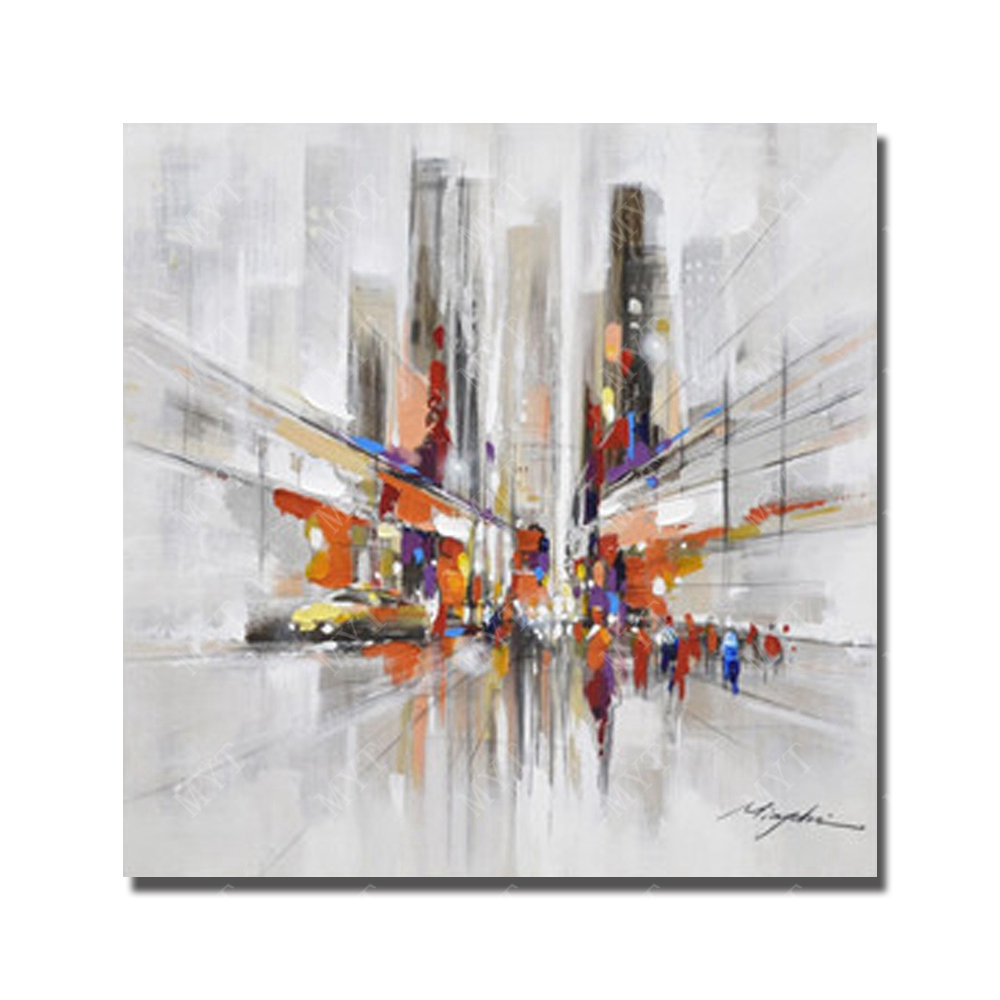 hand painted abstract city view oil painting modern canvas art
