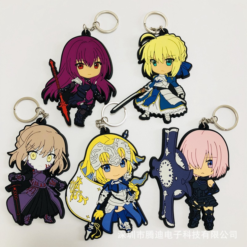 Fate stay night Anime cosplay PVC Keychain Saber Fashion Cartoon silicona para llavero man woman Keyring Jewelry kid toys Party rolecos japanese anime fate stay night altria pendragon cosplay costume fate zero saber arturia pendragon cosplay costume