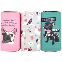 KANDRA Lovely Bulldog Long Wallets Women Boutique PU Leather Pet Phone Bag Cards Holder Dropshipping