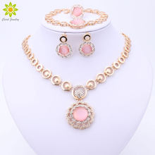 2017 Classic Orange Pink White Nigerian African Beads Jewelry Set Wedding Party Fashion Dress Jewelry For Women Girls(China)