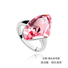 Super hot sale 3 colors big crystal ring wedding jewelry With Crystals from SWAROVSKI good for Christmas gift