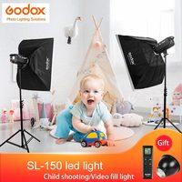 Godox 2 шт SL 150W светодио дный фотографического мерцающий видео свет комплект белый вариант 16 Каналы с легкой подставкой для фотостудии съемки
