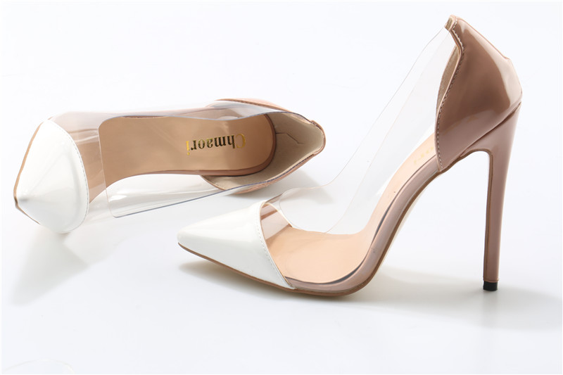 Women Fashion Style Pointed Toe Transparent Pumps White Toe Nude Back High Heels Formal Dress Shoes 12cm Heel women classical design silver pointed toe transparent pumps ankle buckle design 12cm high heels formal dress shoes