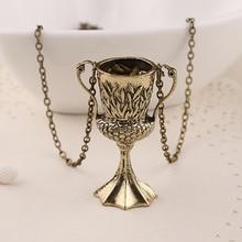 hufflepuff cup necklace vintage antique bronze horcrux conversion helga pendant for men and women wholesale