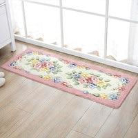 American Style Pastoral Flower Carpet Kitchen Bathroom Rectangular Non slip Absorbent Mats