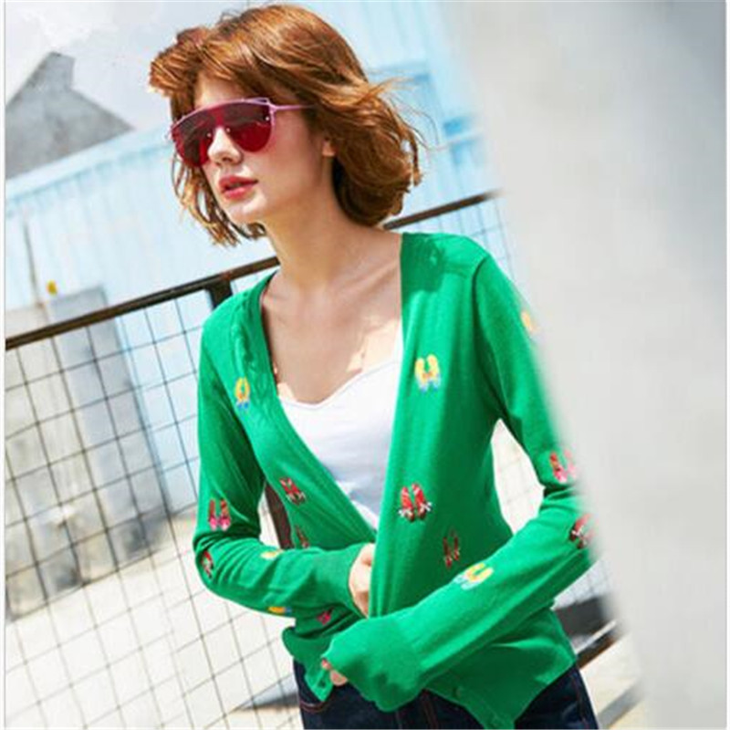 V autumn green sweater cardigan collar embroidery women slim short sweater