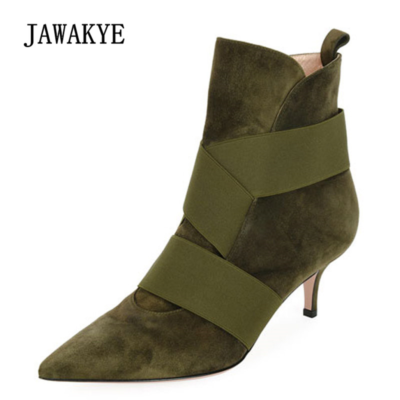 2018 Green Suede Ankle Boots Women Pointed Toe Sexy Cross Strap Elastic Bandage 5.5CM heel Boots Woman Fashion Martin Boots 2018 Green Suede Ankle Boots Women Pointed Toe Sexy Cross Strap Elastic Bandage 5.5CM heel Boots Woman Fashion Martin Boots
