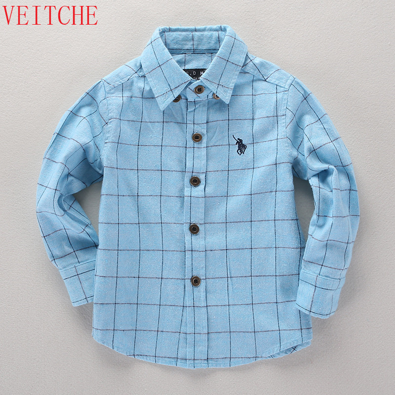 2017 children long sleeve shirt Turn-down Collar plaid shirts boys fashion england style 100% cotton kids cool clothes 100-160cm pure color turn down collar long sleeve shirt for men