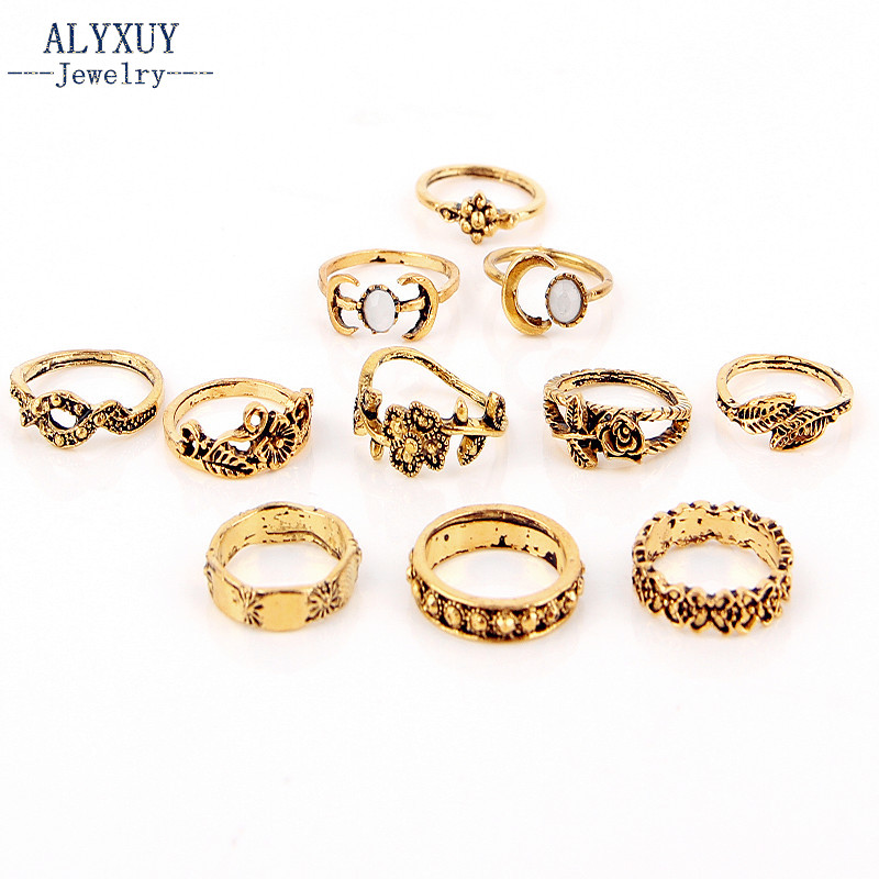 New vinatge trendy jewelry antique silver gold leaf moon flower finger ring set 1set=11pieces gift for women girl R5027