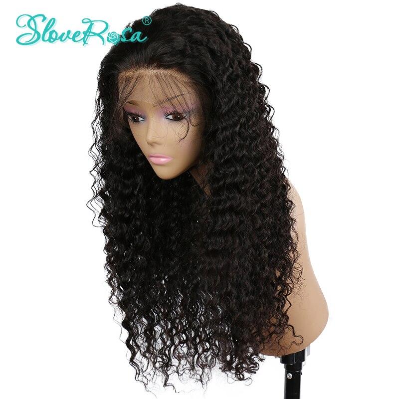Синтетические волосы на кружеве Человеческие волосы Искусственные парики для черный Для женщин 150% Реми перуанский глубокой вьющиеся Кружево Искусственные парики с волосами младенца отбеленные узлы Slove Rosa