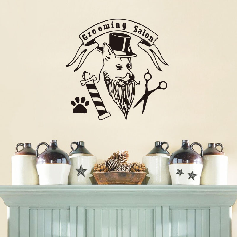 Fashion Pet Grooming Salon Wall Sticker Dog With Hat Paw Scissors Funny Decals For Pet s ...