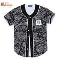 Alisister Nuevas Llegadas de Los Hombres/de las mujeres 3d Camiseta Unisex Tops de Verano Estampado de Flores Precioso Botón Camisetas de Hip Hop de Béisbol Jersey camiseta