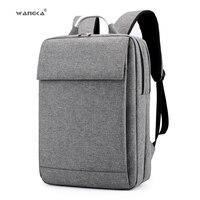 WANGKA Fashion Business Men's Laptop Canvas Backpack for 15.6 inch School Notebook Bags Women 2019 Waterproof Travel Rucksack