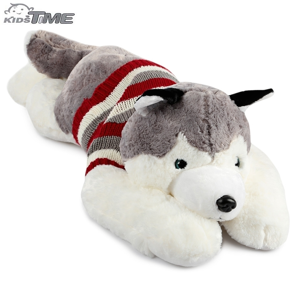 New Arrival Stuffed Plush Toy Stripe Sweater Huskie Dog Doll PP Cotton Plush Nano Doll Boys Girls Birthday Christmas Gifts 75cm super cute plush toy dog lipstick dog pillow doll lying prone as gifts to friends and children with down cotton