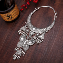 necklaces & pendants exaggeration Miao silver Art dance accessories Bohemia Tassels necklace Retro Big collar Ethnic
