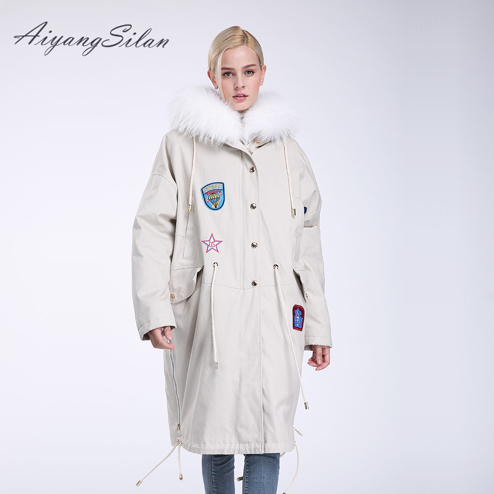 AiyangSilan Real Fox Fur Collar Parka Fox fur Down Liner Detachable Jacket Long Warm Hooded Women Fur Coats aiyangsilan fox fur down liner detachable jacket long warm hooded ladies fur coats white real fox fur collar parka for women